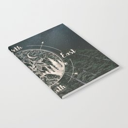 Mountains Compass Milky Way Woods Gold Notebook