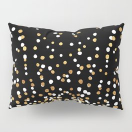 Floating Dots - White and Gold on Black Pillow Sham