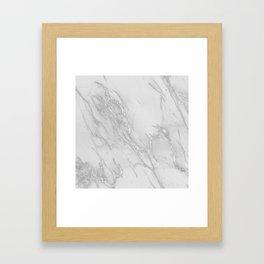 Marble Love Silver Metallic Framed Art Print