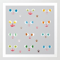 Cat Faces Art Print
