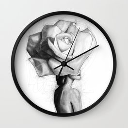 The woman with the head of a rose - Christy Turlington Wall Clock