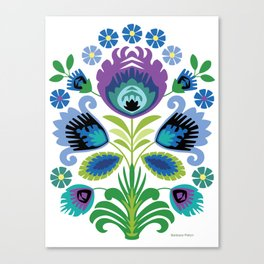 Polish Folk Flowers Purple Canvas Print