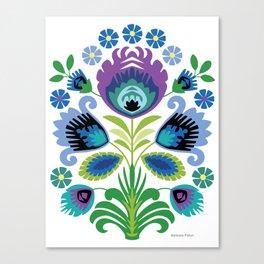 Polish Folk Flowers Purple Canvas Print