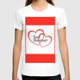 Just Married Red Hearts T-shirt