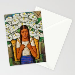 Young Guadalajara Flower Seller with Calla Lilies by Diego Rivera Stationery Cards