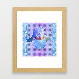 AWESOME BLUISH-WHITE PASTEL IRIS OPTICAL ART Framed Art Print