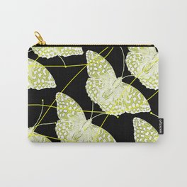 Butterflies on black background  Carry-All Pouch