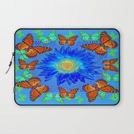 Blue Daisy Monarch Butterflies Blue Pattern Abstract Laptop Sleeve
