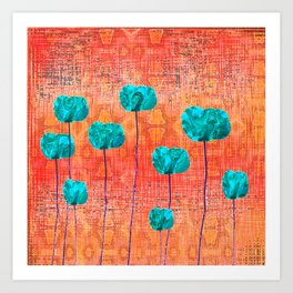 Vintage Poppy Flower Abstract Art Print