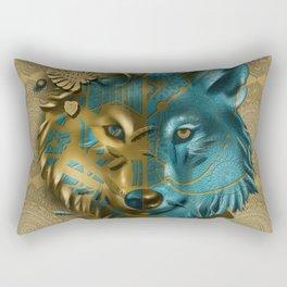 wolf art decor gold Rectangular Pillow