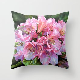 Courtenay Lady Rhododendron Throw Pillow