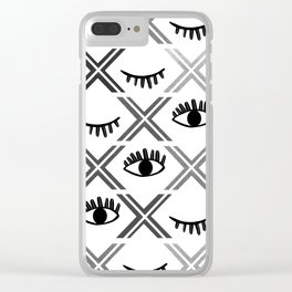 Original Black and White Eyes Design Clear iPhone Case