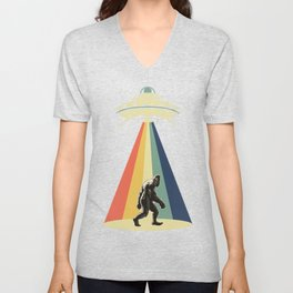 Retro Vintage 1970 1960 UFO Alien Space Conspiracy Big Foot Bigfoot Tees Unisex V-Neck