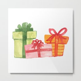 Bright Hand Drawn Watercolor Gift Package Pattern Metal Print