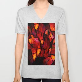 Fragments Of Fire - Abstract, geometric, fragmented pattern Unisex V-Neck