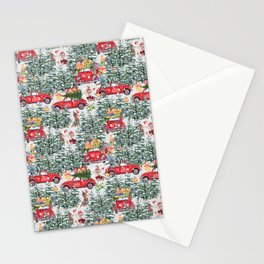 Dachshund decorates the christmas tree Stationery Cards