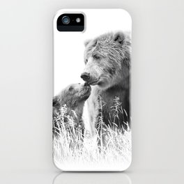 Grizzly Bear And Cub - B&W Wildlife Photography iPhone Case