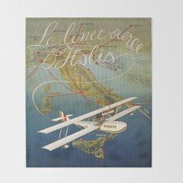Vintage 1920s Island plane shuttle Italian travel Throw Blanket