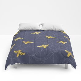 Flying Gold Bees On A Dark Blue Background Comforters