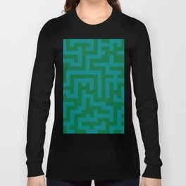 Teal Green and Cadmium Green Labyrinth Long Sleeve T-shirt
