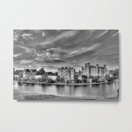 Leeds Castle Black and White 3 Metal Print