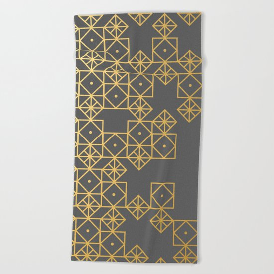Geometric Gold Beach Towel