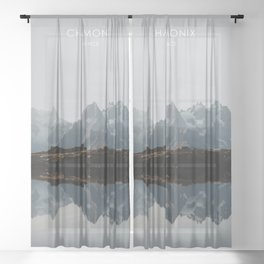 Chamonix, France Travel Artwork Sheer Curtain
