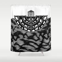 bible Shower Curtains featuring Noah's Ark by Anna Grunduls