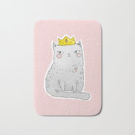 Cute cat with crown pink background Bath Mat