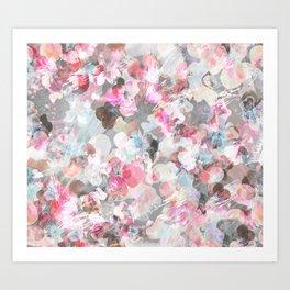 Pastel pink pansies splatter Art Print