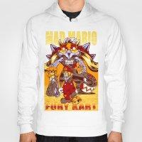 mario kart Hoodies featuring Mad Mario: Fury Kart by RynoArts