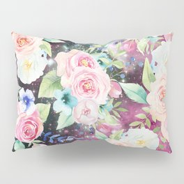 Blush pink watercolor elegant roses floral nebula Pillow Sham