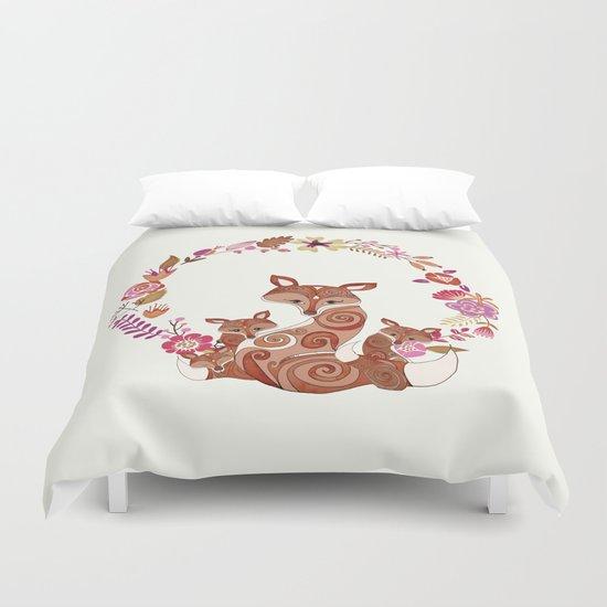FOX & FLOWERS Duvet Cover