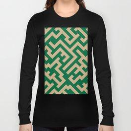 Tan Brown and Cadmium Green Diagonal Labyrinth Long Sleeve T-shirt
