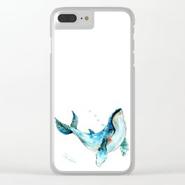 Humpback Whale Artwork Children Illustration Cute little Whale, whale design Clear iPhone Case