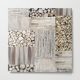 Wood Collage rustic weathered Metal Print