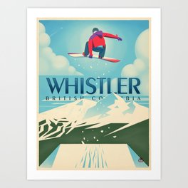 "Vintage Whistler ""Snowboard Booter"" Travel Poster Art Print"
