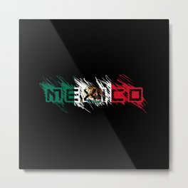 Mexico Mexican Flag Scribble Letters Latino Metal Print