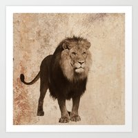 decal Art Prints featuring Lion by haroulita