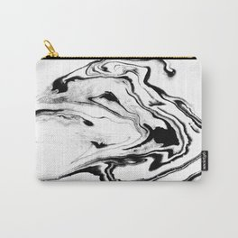 Yumiko - black and white spilled ink abstract painting marble texture pattern marbling marbled paper Carry-All Pouch