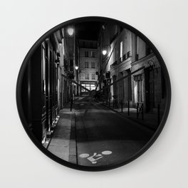 Deserted Paris Street in Black and White Wall Clock