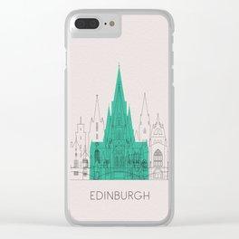 Edinburgh Landmarks Poster Clear iPhone Case