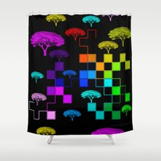 squared and trees again Shower Curtain