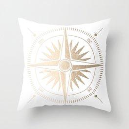 Gold on White Compass Throw Pillow