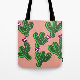 Prickly Cactus with Purple Flowers Tote Bag