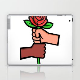 Two Hands Holding Red Rose Mascot Laptop & iPad Skin