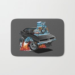 Classic 69 American Muscle Car Cartoon Bath Mat