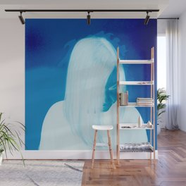 Girl On Fire (blue) Wall Mural