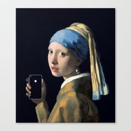 Girl with a pearl earring and an iPhone Canvas Print