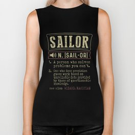 sailor is a persion who solves problem you cant hipster t-shirts Biker Tank